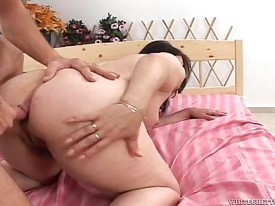 Mature has shower interrupted for cock