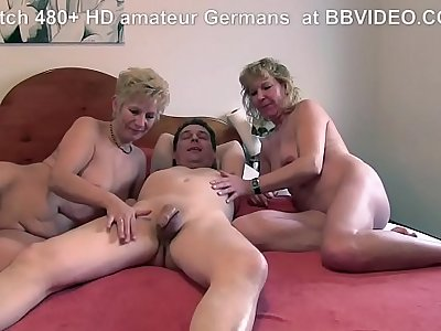 Nice old german granny loves to deepthroat and threesome