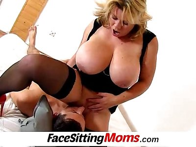 Huge tits mom Silvy Vee cunnilingus with a boy